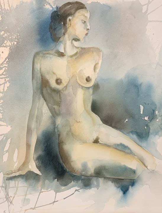 Femme assise - Painting,  25.6x19.7 in, ©2019 by Naalya -                                                                                                                                                                                                                      Figurative, figurative-594, Women, Nude