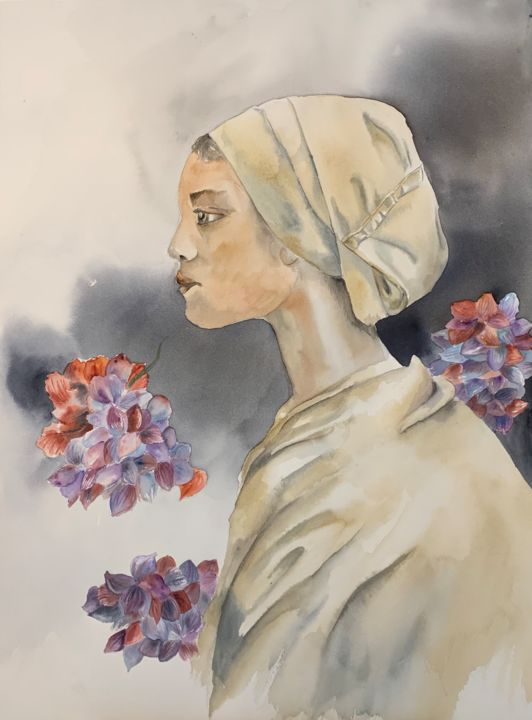 Femme aux fleurs - Painting,  24x18.1 in, ©2019 by Naalya -                                                                                                                                                                          Figurative, figurative-594, Women