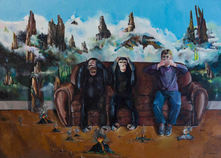 Les trois singes - Painting,  39.4x55.9x1.6 in, ©2018 by Nabli -                                                                                                                                                                                                                                                                                                                                                                                                                                                                                                  Surrealism, surrealism-627, Animals, Tree, Body, Pop Culture / celebrity, Fantasy, Les trois singes, nabli, surealisme