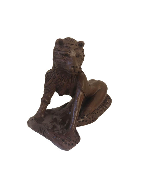 Le Tigre - Sculpture,  7.1x5.9x5.9 in, ©2012 by Nadia Camensuli -                                                                                                                                                                                                                                                                                                                                                              Outsider Art, outsider-art-1044, Other, Animals, Body, Women, Nude