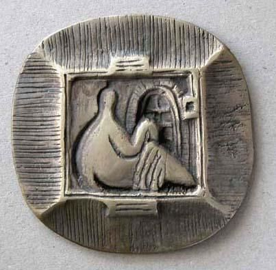 Bather I - Sculpture,  10x0.3x10 cm ©2004 by Nadia Rozeva Green -            Medallic art, art medal, bronze, brass, patina, medallic sculpture, bulgarian, american