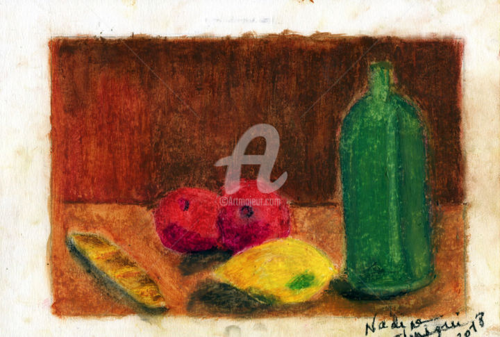 Nature morte au pain et aux fruits - Peinture,  9,5x12,6 in, ©2018 par Nadine Chriqui -                                                                                                                          Figurative, figurative-594