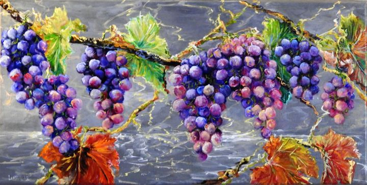 série raisin 1 - Painting,  11.8x23.6x0.6 in, ©2018 by lenzotti -