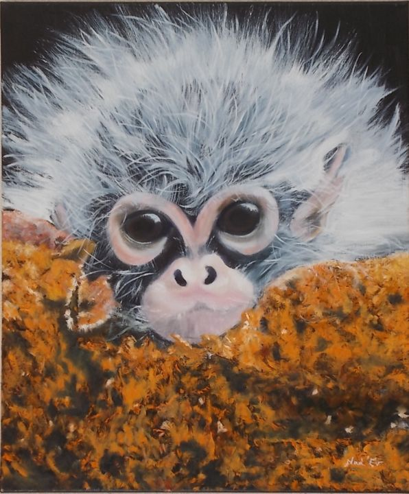 """BONJOUR"" - Painting,  55x46 cm ©2019 by Nad-Ev -                                                            Figurative Art, Canvas, Animals, bébé, singe, animal"