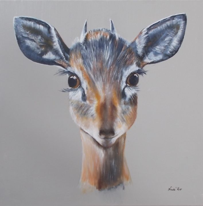 """OUPS"" - Painting,  19.7x19.7 in, ©2020 by Nad-Ev -                                                                                                                                                                                                                                                                                                                  Figurative, figurative-594, Animals, animal, antilope, portrait"