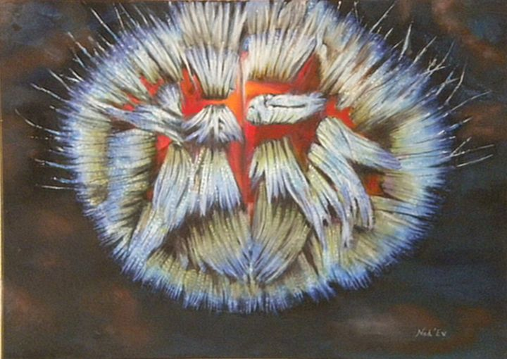 L'OURSIN - Painting,  50x70 cm ©2015 by Nad-Ev -                                                        Figurative Art, Canvas, Animals