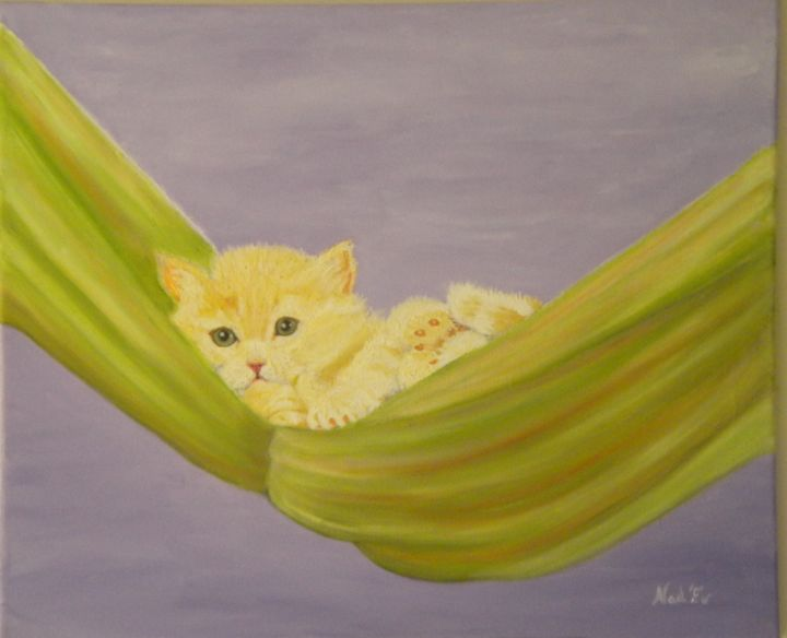 REPOS DU CHAT - Painting,  15.8x21.7 in, ©2015 by Nad-Ev -                                                                                                                                                                          Figurative, figurative-594, Animals