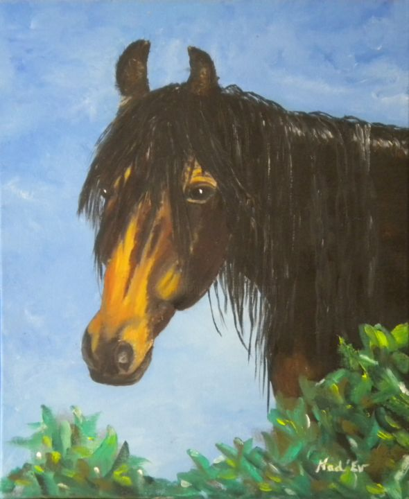 CHEVAL DANS LES LAURIERS - Painting,  46x38 cm ©2015 by Nad-Ev -                                                        Figurative Art, Canvas, Animals