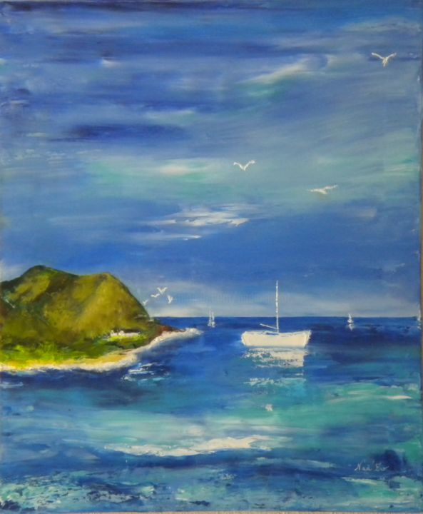 LA COTE - Painting,  22.8x18.9 in, ©2015 by Nad-Ev -                                                                                                                                                                          Figurative, figurative-594, Seascape