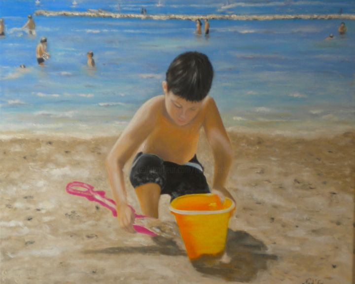 BORD DE PLAGE - Painting,  21.3x25.6 in, ©2015 by Nad-Ev -                                                                                                                                                                          Figurative, figurative-594, Kids
