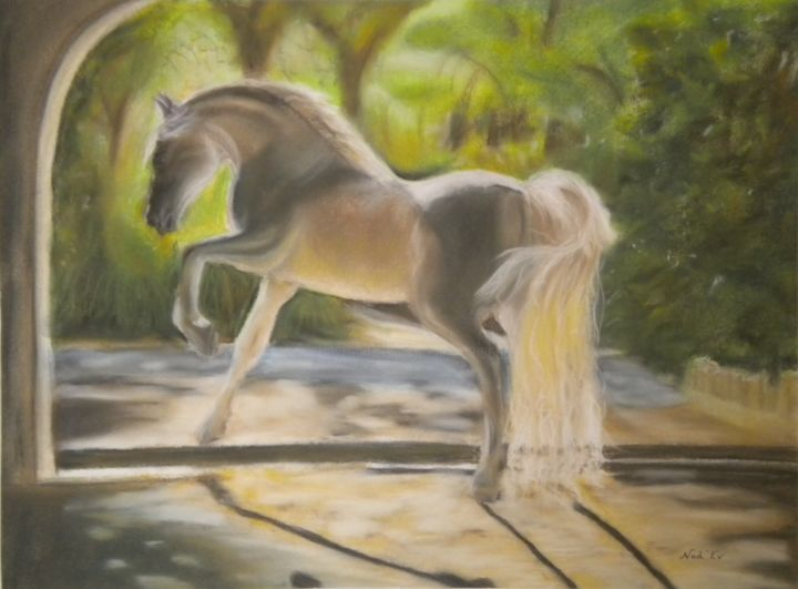 PURE BEAUTE - Painting,  15.8x21.3 in, ©2015 by Nad-Ev -                                                                                                                                                                          Figurative, figurative-594, Animals