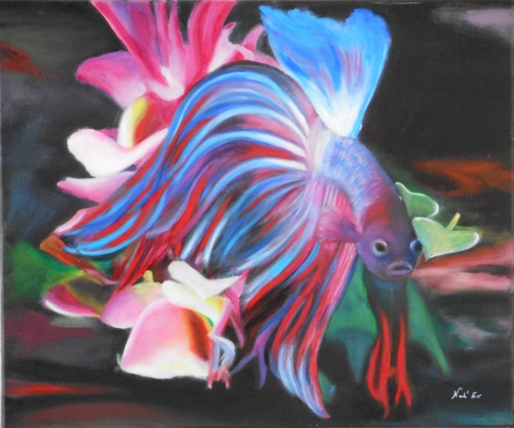 LE COMBATTANT - Painting,  46x55 cm ©2015 by Nad-Ev -                                                            Figurative Art, Canvas, Fish, Poisson Exotique