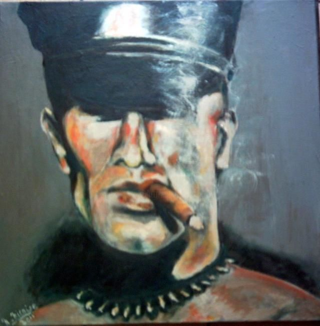 Amateurs de Havane - Painting,  60x60 cm ©2011 by Nadine Nicaise -                            Abstract Expressionism, Portrait, cigare, gay
