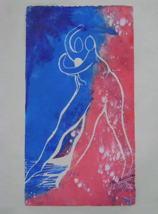 """don't let me down N°1"" - Printmaking,  30x22x0.1 cm ©2019 by fildefériste -                                                            Figurative Art, Paper, Love / Romance, amoureux, couple, saint-valentin, danseurs, solidarité"
