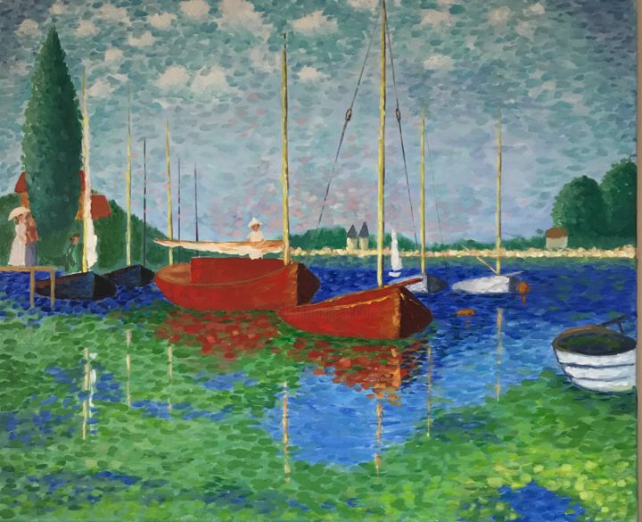 Red Boats, Claude Monet, Reproduction - Painting,  19.7x23.6x0.6 in, ©2019 by Nadia Voro -                                                                                                                                                                                                                                                                                                                                                                                                                                                                                                  Impressionism, impressionism-603, Ships, Seascape, Sailboat, Nature, Oil painting, Red Boats, Claude Monet, seascape