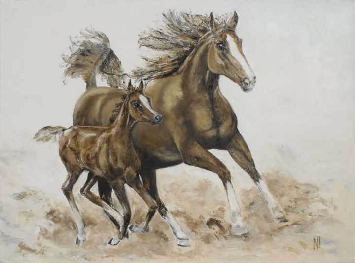 Horses - Painting,  19.7x27.6 in, ©2019 by Надежда Иванова -                                                                                                                                                                                                                                                                                                                                          Horses, horse, oil, paint, art, run, animal