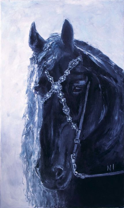 """Painting titled """"Horse black"""" by Надежда Иванова, Original Art, Oil Mounted on Stretcher frame"""