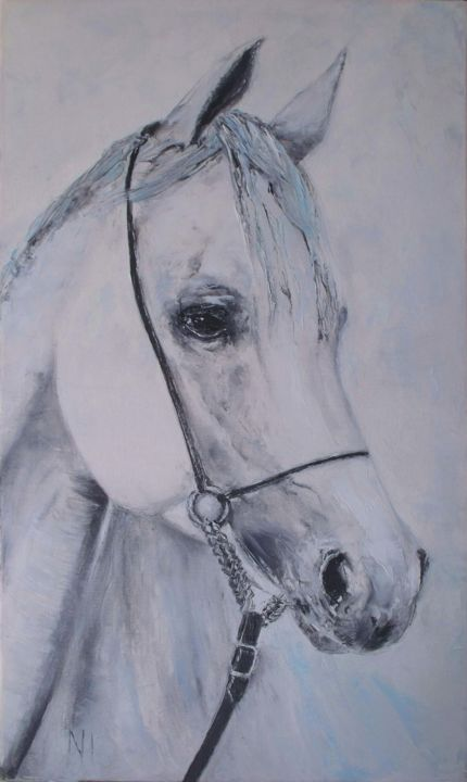 """Painting titled """"Horse withe"""" by Надежда Иванова, Original Art, Oil Mounted on Stretcher frame"""