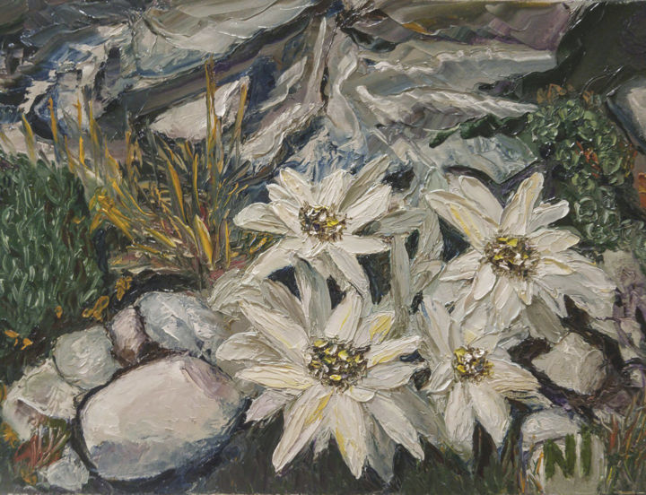 """Painting titled """"Edelweiss"""" by Надежда Иванова, Original Art, Oil"""