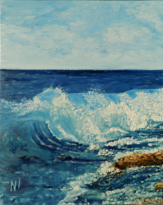 """Painting titled """"sea"""" by Надежда Иванова, Original Art, Oil"""