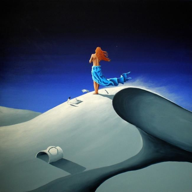 A WHISPERING VOICE AMONG A SEA OF SILENCE - Painting,  31.5x31.5 in, ©2011 by NAGUALERO -                                                                                                                                                                                                                                                                                                                                      INSPIRATIONAL PAINTINGS, DESERT PAINTING, DUNES, WOMAN IN THE BEACH, THE ART OF NAGUALERO, NAGUALERO PAINTINGS, NAGUALERO ART