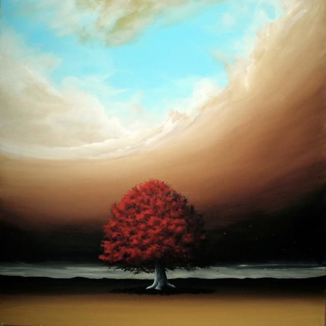 THE NOBLE ART OF SIMPLICITY - Painting,  39.4x39.4 in, ©2011 by NAGUALERO -                                                                                                                                                                                                                                                                                                                                      INSPIRATIONAL PAINTINGS, simplicity, red oak tree, tree, THE ART OF NAGUALERO, NAGUALERO PAINTINGS, NAGUALERO ART