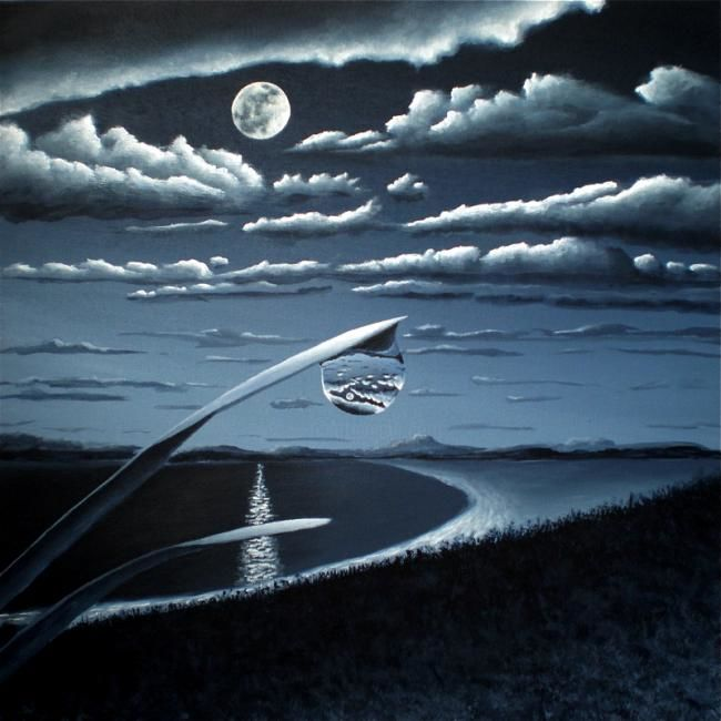 WHEN THE UNIVERSE FITS INSIDE A DEWDROP - Painting,  23.6x23.6 in, ©2011 by NAGUALERO -                                                              Painting of a beach by moonlight with grass and dewdrops