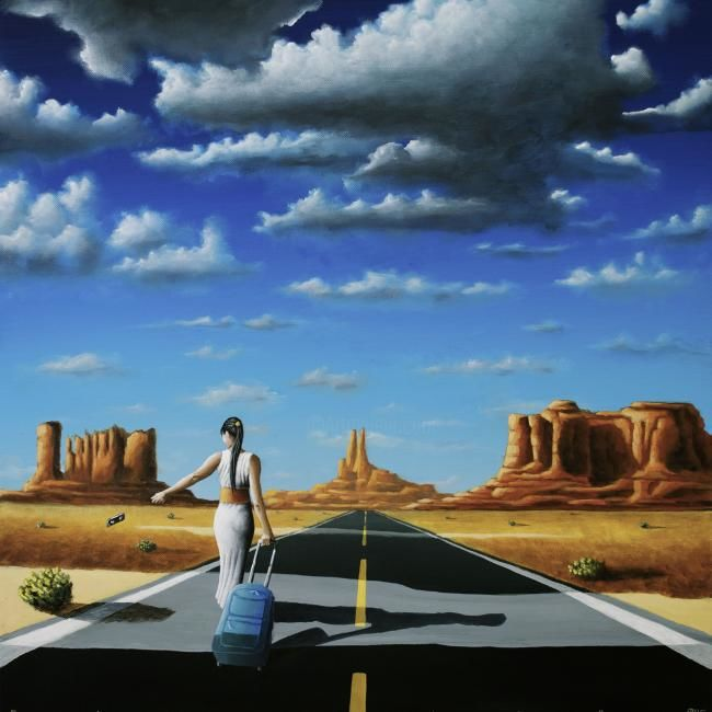 WHEREVER I MAY ROAM - Painting,  23.6x23.6 in, ©2013 by NAGUALERO -                                                              painting of a woman walking by the road on monument valley