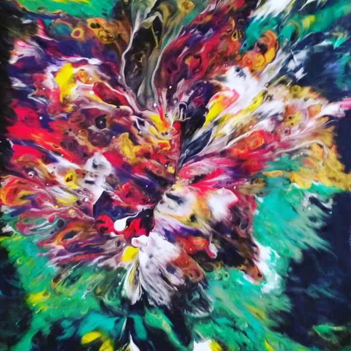 fractale-fleur - Painting,  40x30x1 cm ©2019 by Nagwa Safey -                                                                    Abstract Art, Illustration, Abstract Art, Flower, art abstrait, illustration, acrylique, art fluide, fleurs, painting art, creative, original, abstract art