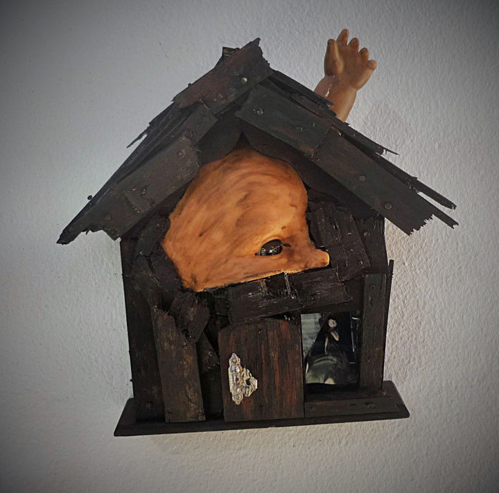 The haunted house - Sculpture,  8,3x8,7x2 in, ©2019 par Nancy Cardinal -                                                                                                                                                                                                                                                                                                                                                                                                                                                                                                      Outsider Art, outsider-art-1044, Autre, Architecture, artwork_cat.Fairytales, artwork_cat.Dark-Fantasy, artwork_cat.Kids, Fantastique, art singulier, maison hantée