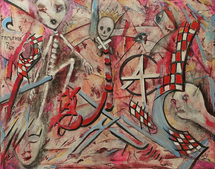 Peinture à 4 mains - Painting,  31.5x39.4 in, ©2020 by Nancy Cardinal -                                                                                                                                                                                                                                                                                                                                                          Outsider Art, outsider-art-1044, Outer Space, Fantasy, Politics, artwork_cat.Science-fiction, Time
