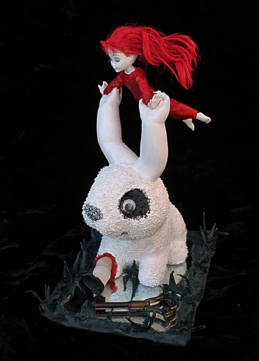 Gothic Alice - Sculpture,  8.7 in, ©2020 by Nancy Cardinal -                                                                                                                                                                                                                                                                                                                                                                                                                                                      Outsider Art, outsider-art-1044, Animals, artwork_cat.Fairytales, Fantasy, Gothic, Humor, Lapin blanc, art singulier