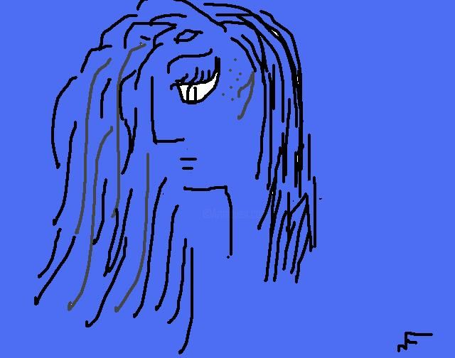 blue girl2 - Painting ©2012 by Nancy Forever -                            Portraiture, hand signed original