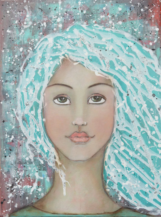 nandasartjourneygirl2.jpg - Painting,  15.8x11.8x0.4 in, ©2016 by Nanda Boukes -                                                                                                                                                                                                                                                                                                                                                                                                                                                                                                                                                                                                                                                                                                                                                                                                                                                                                                                                                                                                                                                                                                                                          Abstract, abstract-570, Abstract Art, Fantasy, Men, People, Portraits, woman, face, portrait, hair, glitter, shimmer, mixedmedia, mixed media, girl, soft, heavenly, angel, aqua, blue, natural, earth, earthy
