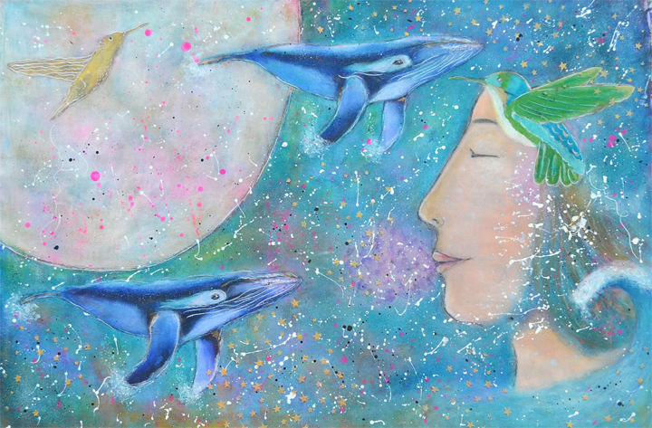 whalessmall.jpg - Painting,  19x28.4 in, ©2016 by Nanda Boukes -                                                                                                                                                                                                                                                                                                                                                                                                                                                                                                                                                                                                                                                                                                                                                                                                                                                                                                                                                                                                                                                                                                                                                                                                                  Other, Animals, Fantasy, artwork_cat.Colors, Landscape, Men, whales, fish, ocean, sea, waves, birds, hummingbird, angel, face, portrait, woman, shimmer, stars, sky, heaven, texture, spiritual, bohemian, gold, flying