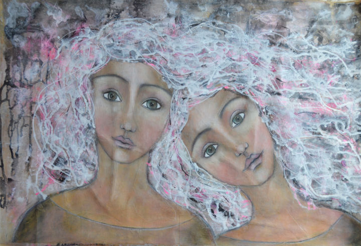 sisters.jpg - Painting,  19x28.4 in, ©2016 by Nanda Boukes -                                                                                                                                                                                                                                                                                                                                                                                                                                                                                                                                                                                                                                                                                                                                                                                                                                                                                                                                                                                                                                                                                                  Expressionism, expressionism-591, Other, Family, Fantasy, artwork_cat.Kids, artwork_cat.Love/Romance, Men, woman, sisters, family, bond, love, soul, soulsister, strong, collage, mixedmedia, portrait, face, hair abstract, hair, abstract