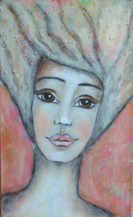 nandasartjourney-portrait2.jpg - Painting,  13.8x8.7x1 in, ©2016 by Nanda Boukes -                                                                                                                                                                                                                                                                                                                                                                                                                                                                                                                                                                                                                                                                                                                                                                                                                                                                      Expressionism, expressionism-591, Other, Outer Space, Family, Men, People, Portraits, woman, face, portrait, stars, heaven, sky, soft, hair, female, feminin