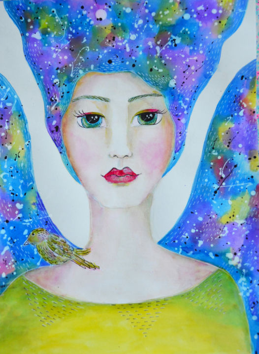 wc-girl4.jpg - Painting,  11.6x8.1 in, ©2016 by Nanda Boukes -                                                                                                                                                                                                                                                                                                                                                                                                                                                                                                                                                                                                                                                                                                                                                                                                                                                                                                                                                                                                                                                                                                                                                                                                                                                                              Abstract, abstract-570, Abstract Art, artwork_cat.Colors, Spirituality, Women, Patterns, angel, wings, heaven, healing, sky, stars, love, bird, face, earth, nature, bohemian, vibrant, colorful, colors, powerful, soft, shimmer, sparkling, watercolor