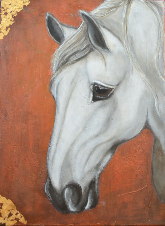 nandasartjourney-horse.jpg - Painting,  16x12 in, ©2016 by Nanda Boukes -                                                                                                                                                                                                                                                                                                                                                                                                                                                                                                                                                                                                                                                                                                                                                                                                                                                                                                                                                              Figurative, figurative-594, Canvas, Other, Animals, artwork_cat.Horses, Nature, horse, animal, caballo, earthy, nature, boho, bohemian, spiritual, gold, goldleaf, brown, natural, strong