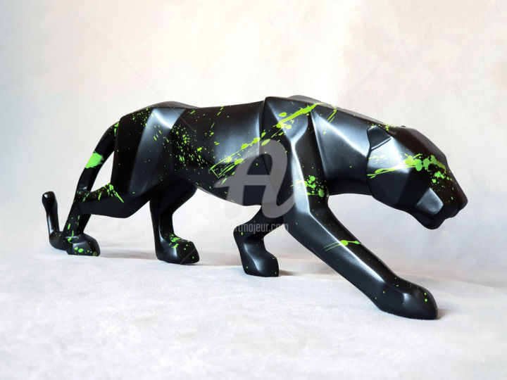 """Sculpture titled """"Panther black [2]"""" by Na$H, Original Art, Acrylic"""