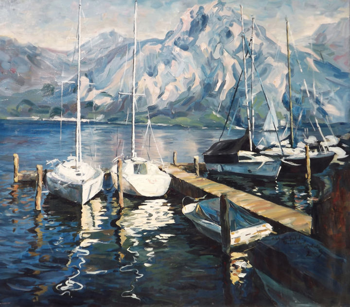 Lake in Salzkammergut - Malerei,  27,6x31,5 in, ©2014 von Natali Shtainfeld-Borovkov -                                                                                                                                                                                                                                                                                                                                                                                                                                                                                                                                                                                                                                                                                                                                                                                                                                                                                                                                                                                                                                                                                                                                                                                                                                                                                                                                                                                                                                                                                                                                                                                                                                                                                                                                                                                                                              Impressionism, impressionism-603, Landschaft, blue, green, colorful, color, yellow, art, white, red, girl, woman, pink, vintage, light, lady, black, modern,