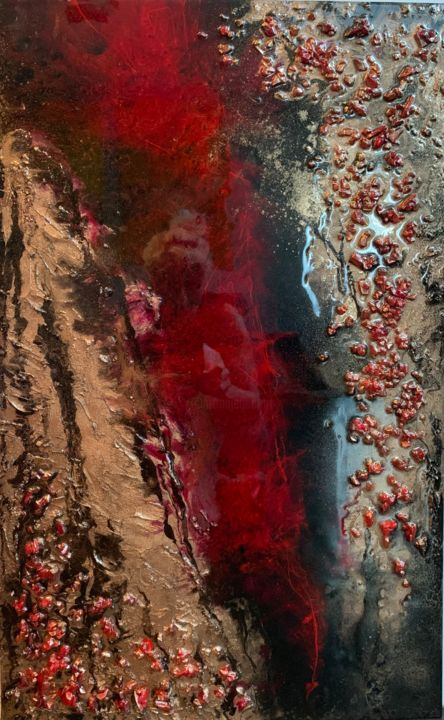 """Painting titled """"Red"""" by Natalia Fulterer, Original Art, Tempera"""