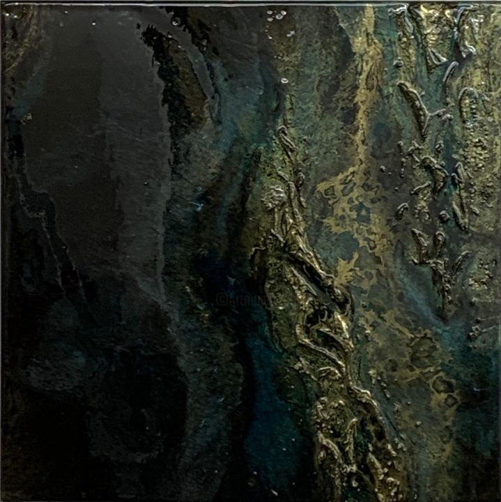 """Painting titled """"Greenwald"""" by Natalia Fulterer, Original Art, Lacquer Mounted on Wood Panel"""