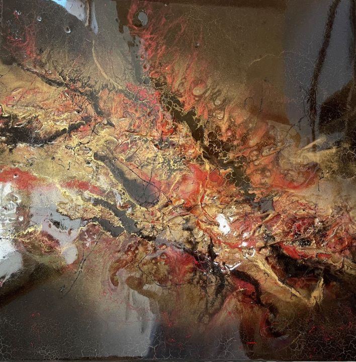 """Painting titled """"Vulkan"""" by Natalia Fulterer, Original Art, Lacquer"""