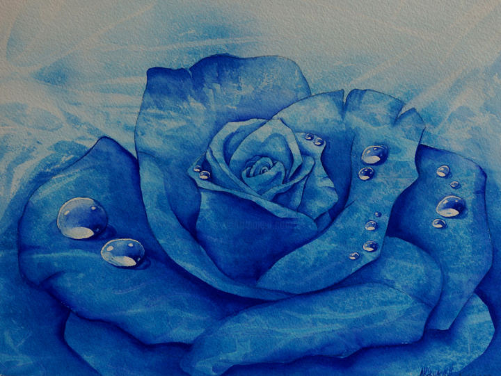 blue rose - Painting, ©2014 by Natalia-Khromykh -                                                                                                                                                                                                                                                  Flower, blue rose, rose, flower, blue