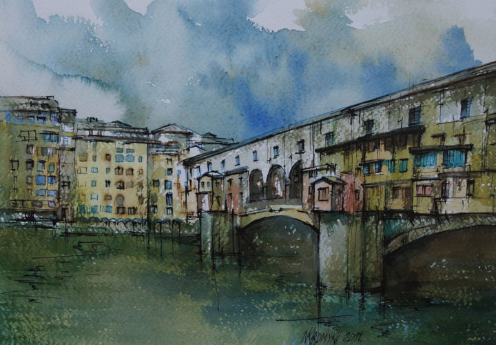 cloudy day in Florence - Painting, ©2014 by Natalia-Khromykh -                                                                                                                                                                                                                                                                      Expressionism, expressionism-591, Landscape, italy, florence