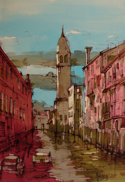 walk across Venice - Painting, ©2014 by Natalia-Khromykh -                                                                                                                                                                                                                                                                      Expressionism, expressionism-591, Cities, architecture, landscape