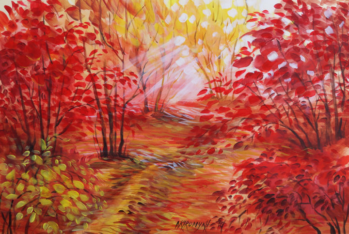 Paesaggio autunnale (video su yuotube) - Painting,  13x18.9 in, ©2016 by Natalia-Khromykh -                                                                                                                                                                                                                                                                                                                                                                                                                                                      Pop Art, pop-art-615, Nature, Landscape, fall, nature, autumn wood, autum landscape, landscape