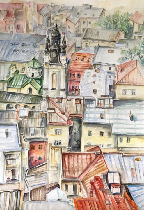 """Painting titled """"Roofs"""" by Nataliia Dadykina, Original Art, Watercolor"""