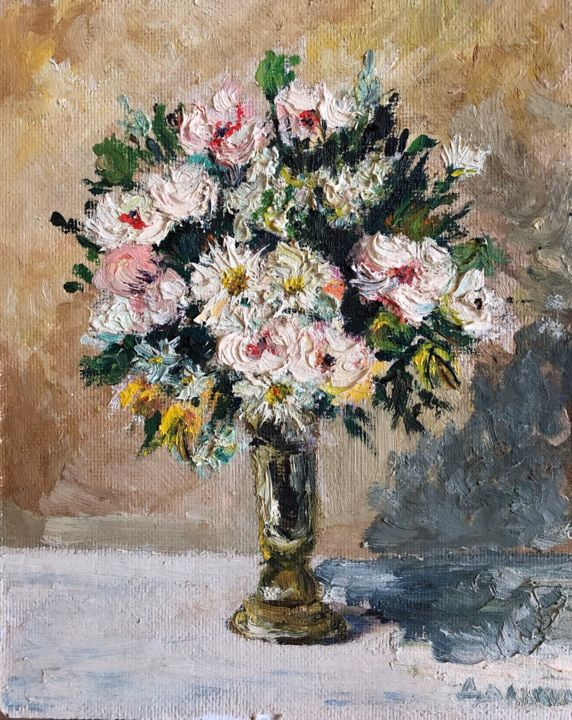 """Painting titled """"Goldy Flowers"""" by Nataliia Dadykina, Original Art, Oil"""
